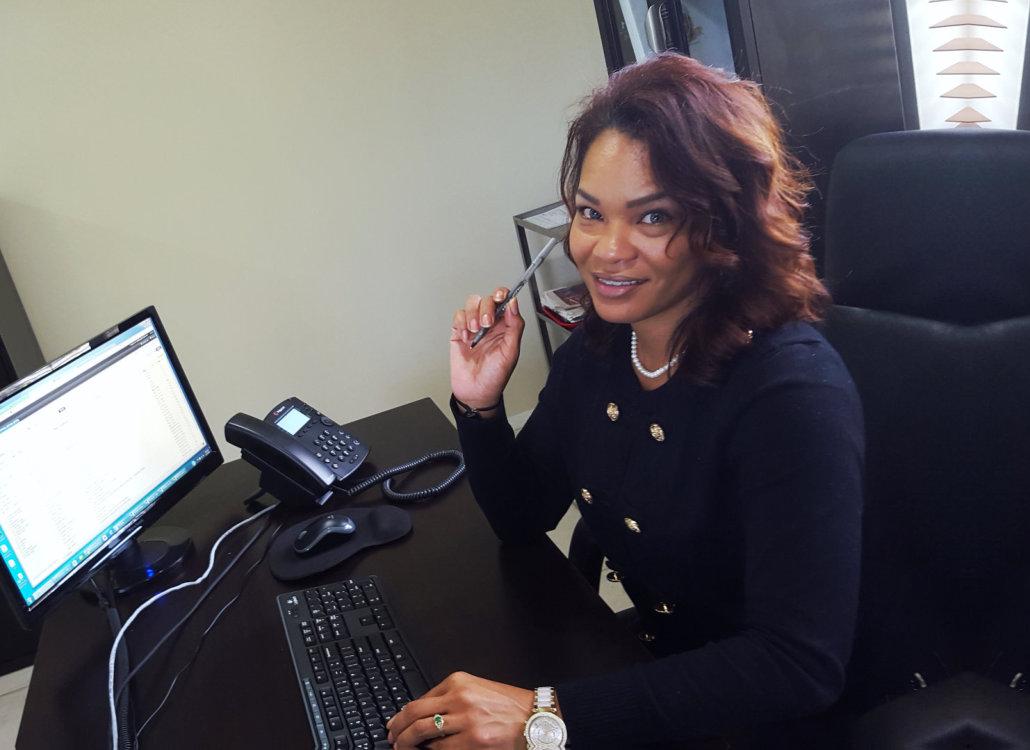 beautiful woman in an office